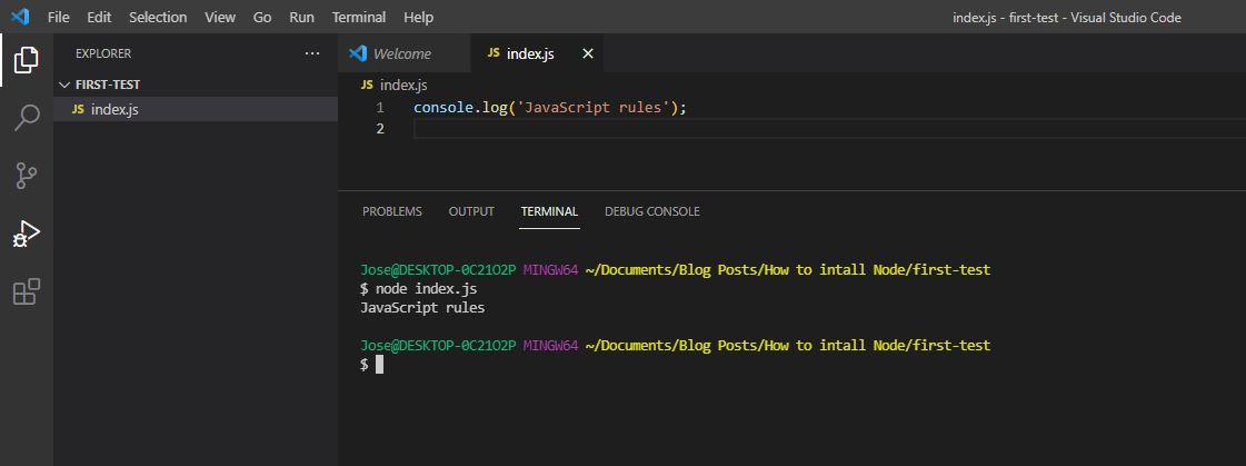 node.js first script